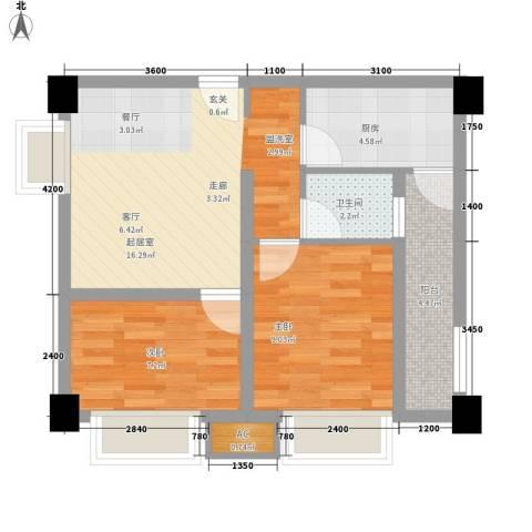 名城金典2室0厅1卫1厨57.00㎡户型图