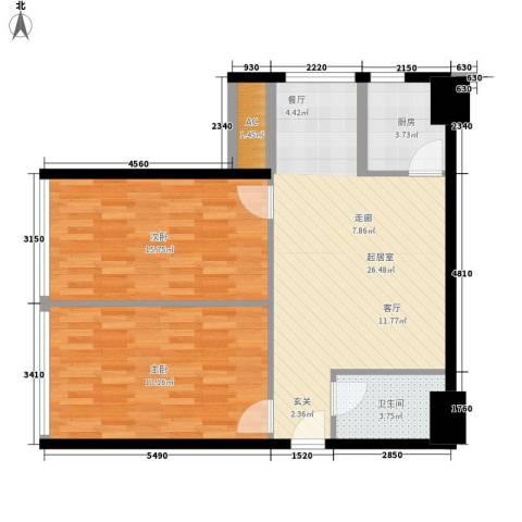 上城金都2室0厅1卫1厨75.00㎡户型图