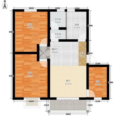 凤凰苑3室1厅2卫1厨81.38㎡户型图