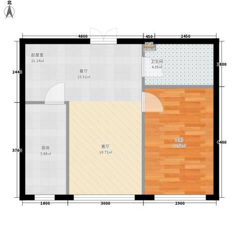 开美国际1室0厅1卫1厨60.00㎡户型图
