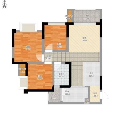 泽胜温泉城3室1厅1卫1厨96.00㎡户型图