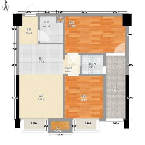 卓越时代广场2室0厅1卫1厨68.00㎡户型图