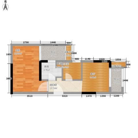 复地新城就1室0厅1卫1厨53.00㎡户型图