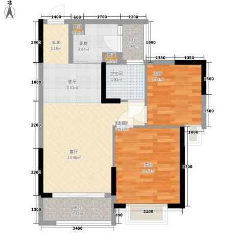 卓越时代广场2室0厅1卫1厨71.00㎡户型图