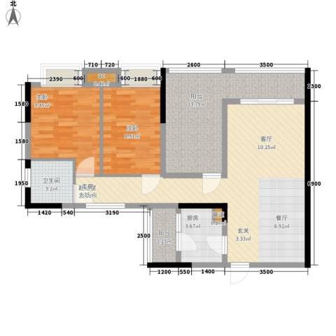 卓越时代广场2室0厅1卫1厨90.00㎡户型图