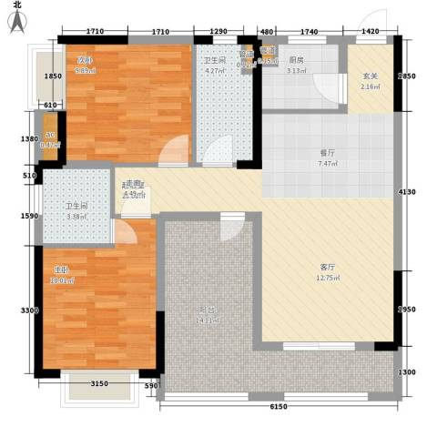 卓越时代广场2室0厅2卫1厨95.00㎡户型图
