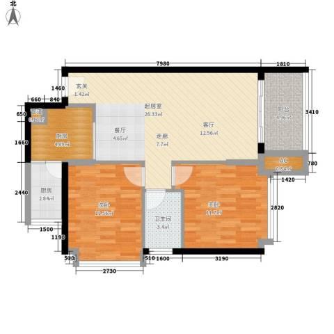 富雅都市华庭2室0厅1卫2厨81.00㎡户型图