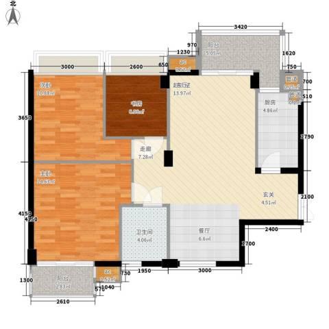 西山汇景3室0厅1卫1厨110.00㎡户型图