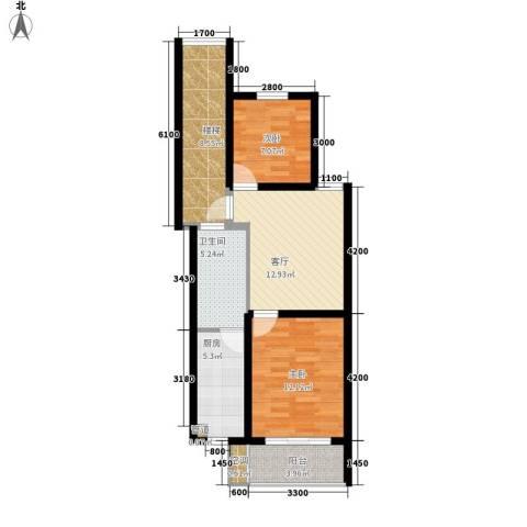 天悦花园2室1厅1卫1厨82.00㎡户型图
