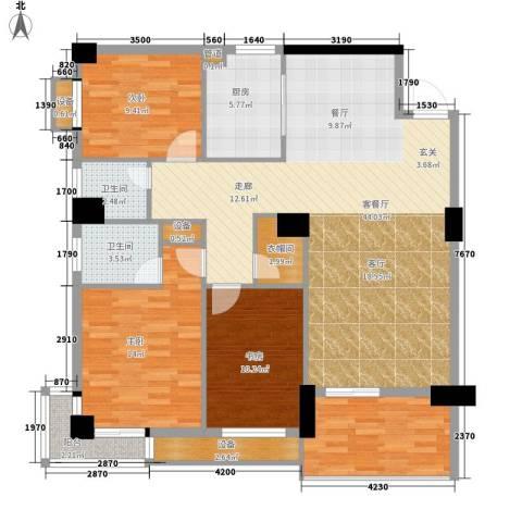 浏阳河畔3室1厅2卫1厨134.00㎡户型图