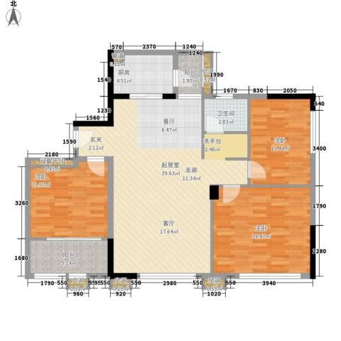 青和君临国际3室0厅1卫1厨107.00㎡户型图