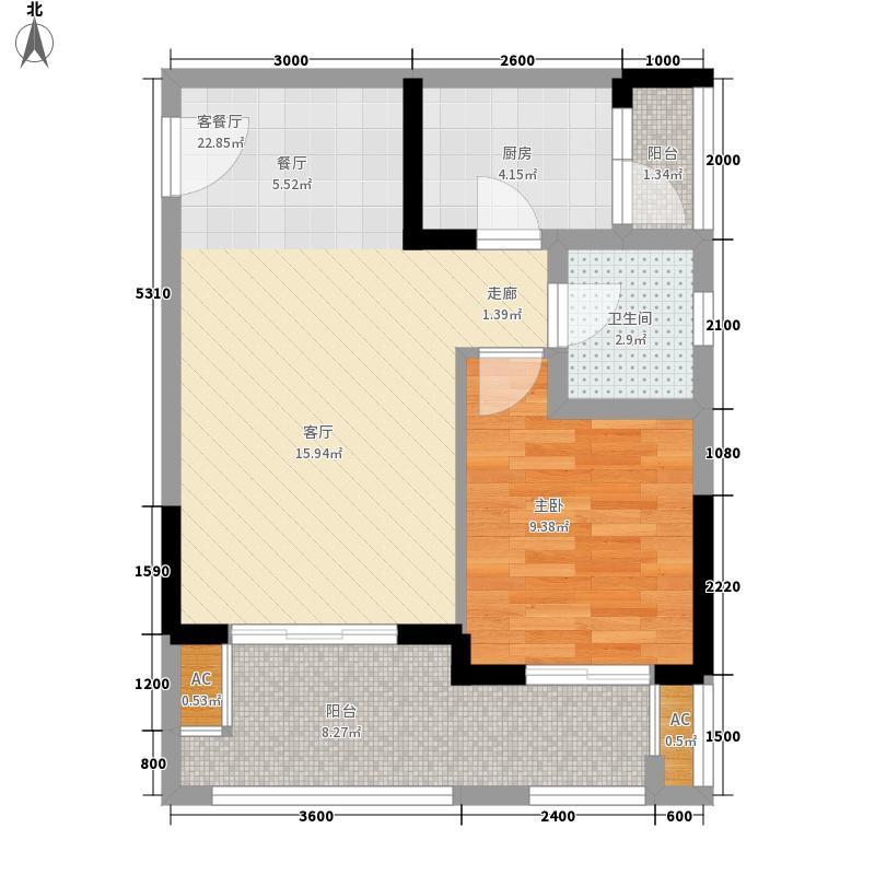 半山七号52.20㎡一期2号楼标准层B5户型