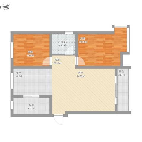 坤宇凯旋城2室1厅1卫1厨103.00㎡户型图