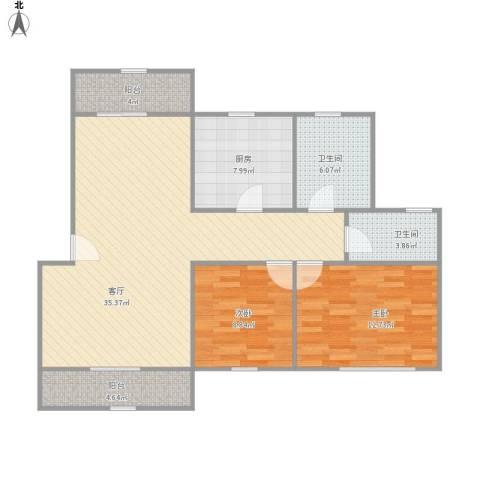 欧风花都2室1厅2卫1厨113.00㎡户型图