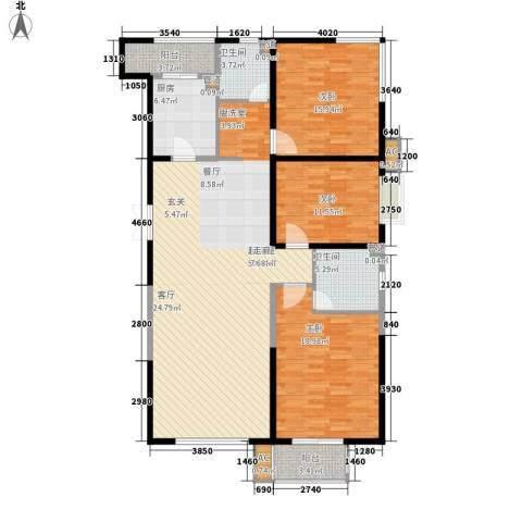 华门明筑3室0厅2卫1厨134.00㎡户型图