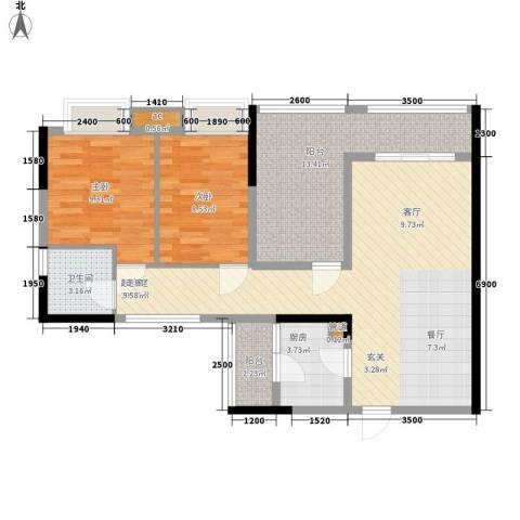 卓越时代广场2室0厅1卫1厨89.00㎡户型图