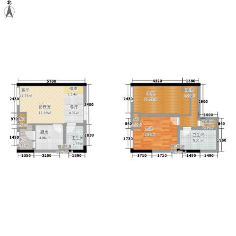 龙城国际1室0厅2卫1厨58.19㎡户型图