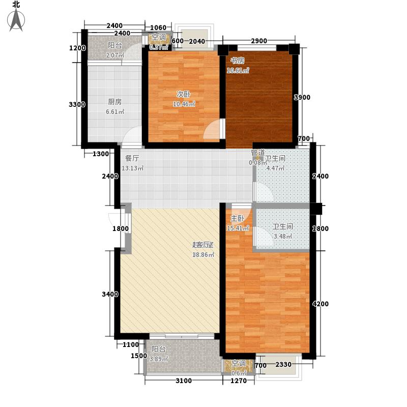 怡景.聚贤庭117.00㎡D标准层 三室两厅两卫 117㎡户型3室2厅2卫