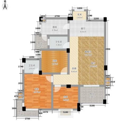 浏阳河畔3室1厅2卫1厨111.00㎡户型图