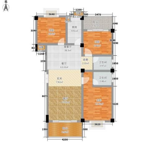 浏阳河畔3室1厅2卫1厨117.00㎡户型图