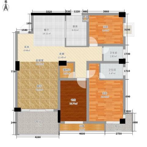 浏阳河畔3室0厅2卫1厨134.00㎡户型图