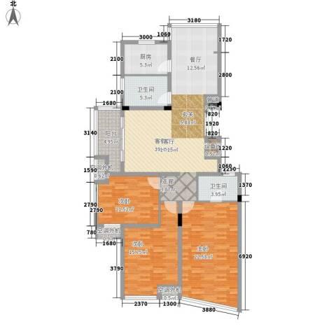 苕溪家园3室1厅2卫1厨160.00㎡户型图