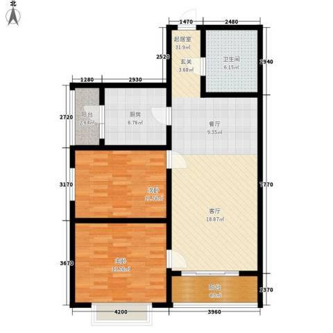 山水宜居2室0厅1卫1厨91.00㎡户型图