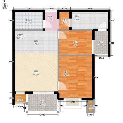 汇雅风尚2室0厅1卫1厨92.00㎡户型图