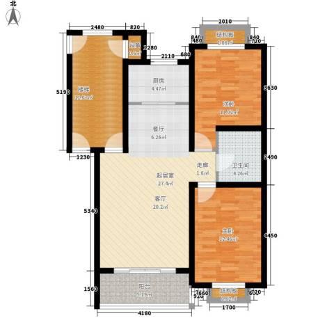 时代天骄2室0厅1卫1厨88.00㎡户型图
