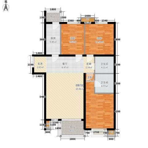 汇雅风尚3室0厅2卫1厨135.00㎡户型图