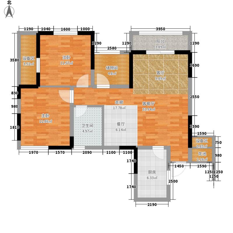 复地东湖国际96.49㎡三期10、11号楼标准层I2户型2室2厅