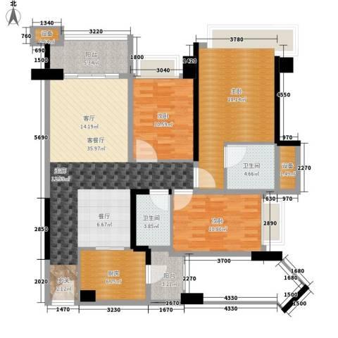 雅居乐・铂爵山3室1厅2卫1厨116.00㎡户型图