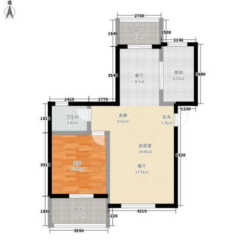 水木清华1室0厅1卫1厨77.00㎡户型图