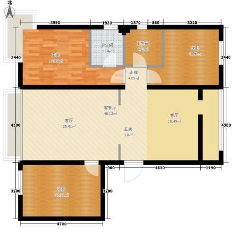 安装公司家属院3室1厅2卫0厨130.00㎡户型图