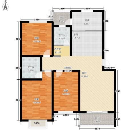 东城水岸3室0厅2卫1厨138.00㎡户型图