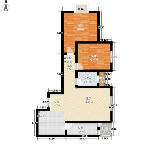 正天雅居2室1厅1卫1厨97.00㎡户型图
