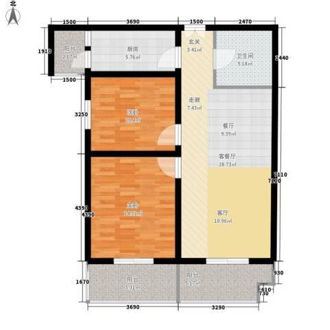 正天雅居2室1厅1卫1厨110.00㎡户型图