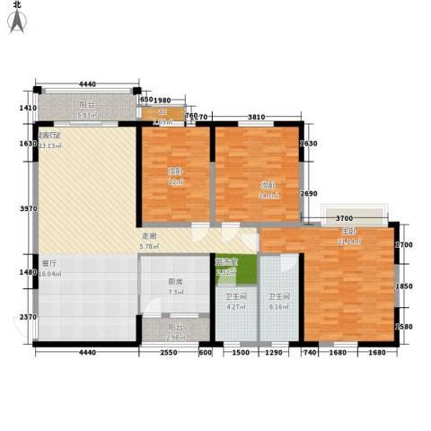 锦林山庄3室0厅2卫1厨137.00㎡户型图