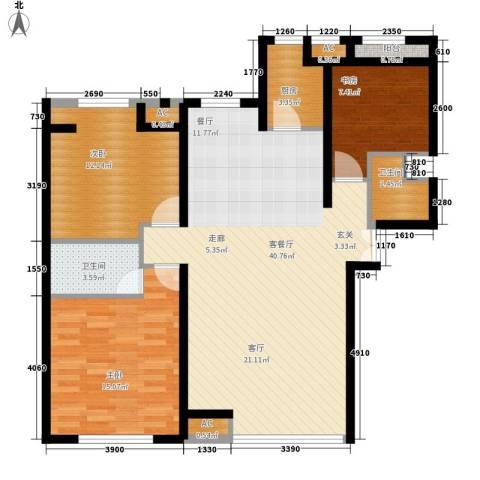 安装公司家属院3室1厅2卫1厨124.00㎡户型图