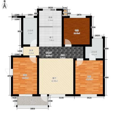 金圆・上都3室1厅2卫1厨116.00㎡户型图