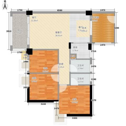 名雅苑(永卓楼)3室1厅2卫1厨98.00㎡户型图