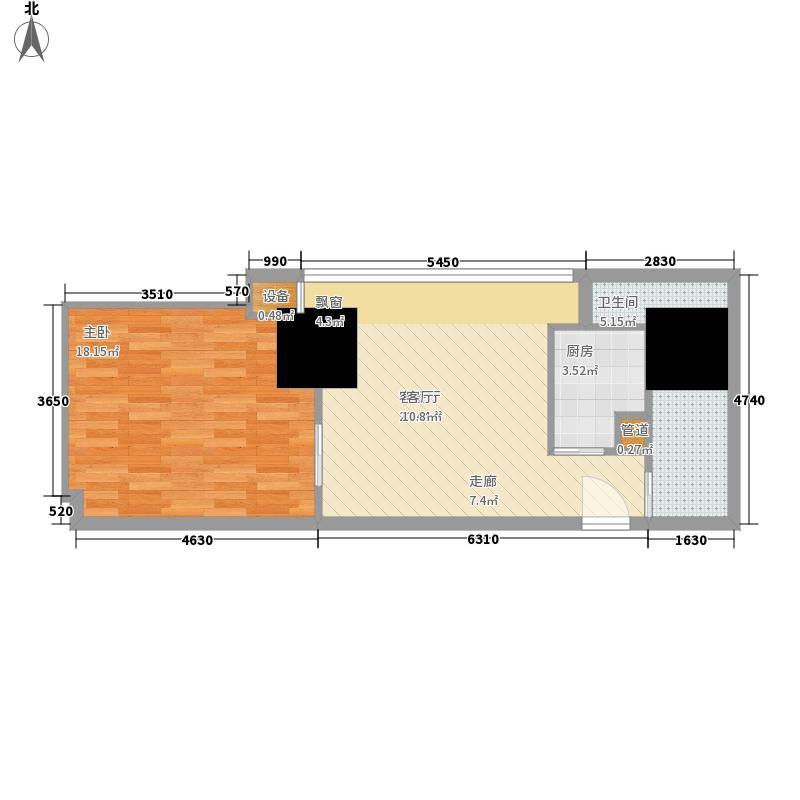 英利国际广场49.49㎡一期2号楼标面积4949m户型