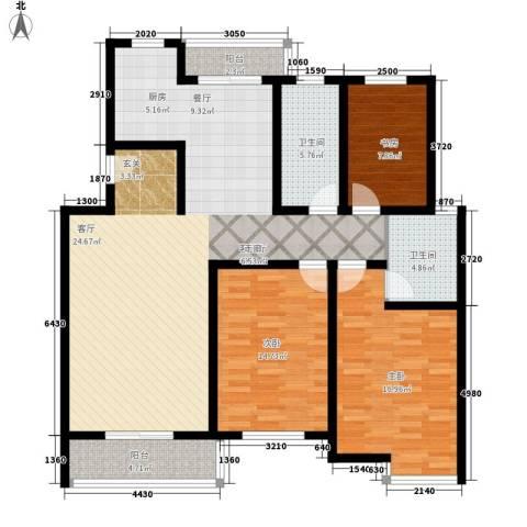 三景花园3室1厅2卫0厨122.00㎡户型图
