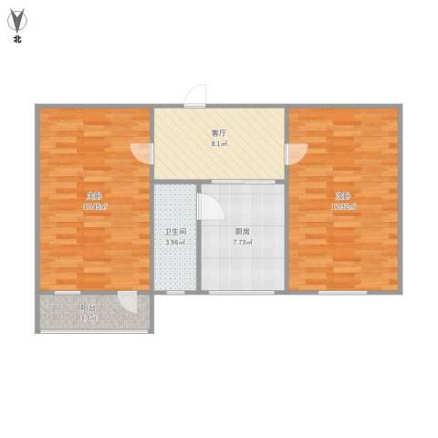 舜耕路单位宿舍2室1厅1卫1厨78.00㎡户型图