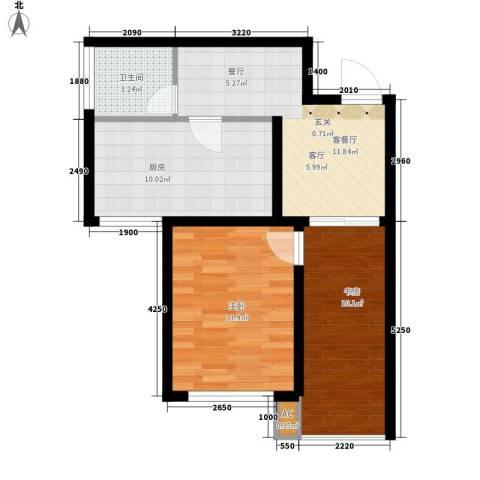 鸿旺阳光小区2室1厅1卫1厨69.00㎡户型图