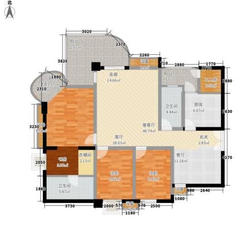 帝景名苑3室1厅2卫1厨143.00㎡户型图