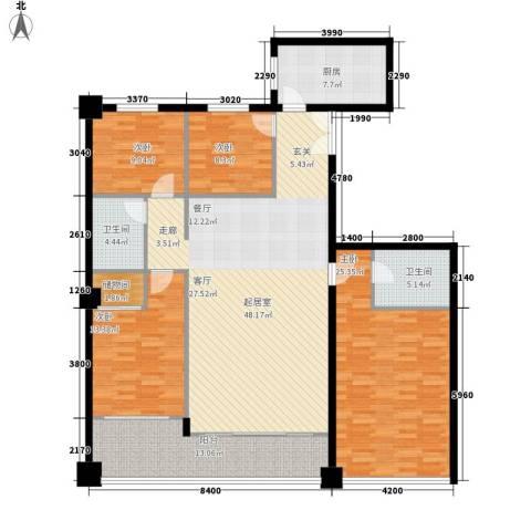 东河国际商住城4室0厅2卫1厨157.00㎡户型图