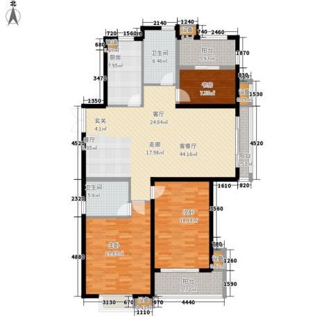 中天花园(西区)3室1厅2卫1厨180.00㎡户型图