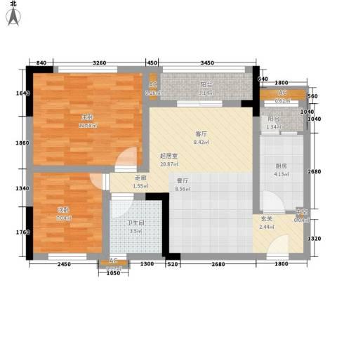 龙城国际2室0厅1卫1厨59.00㎡户型图