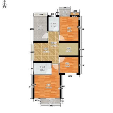 金地荔湖城3室1厅2卫0厨91.00㎡户型图